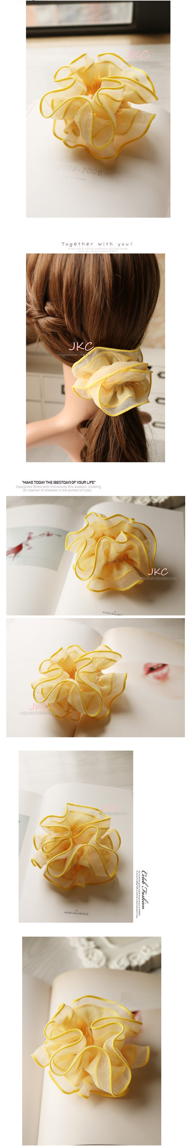 โดนัทรัดผมโบว์สไตล์ญี่ปุ่นผ้าชีฟองสีเหลืองแต่งระบาย