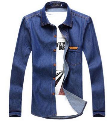 เสื้อ Jacket ยีนส์ แจ็คเก็ตยีนส์ ผู้ชาย เสื้อเชิ้ต ยีนส์ แขนยาว ใส่ทำงาน เสื้อยีนส์ คอปก สีเข้ม ผ้าบางเบา ใส่สบาย เสื้อเชิ้ตสียีนส์ ตัวยาว มีกระเป๋าหน้า 239184