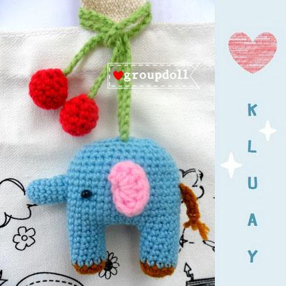 ตุ๊กตาถัก ช้างน้อย + สายคล้องเชอร์รี่