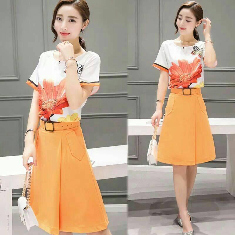 Skirt300 กางเกงกระโปรงผ้าหนาเนื้อดีมีน้ำหนักสีส้ม