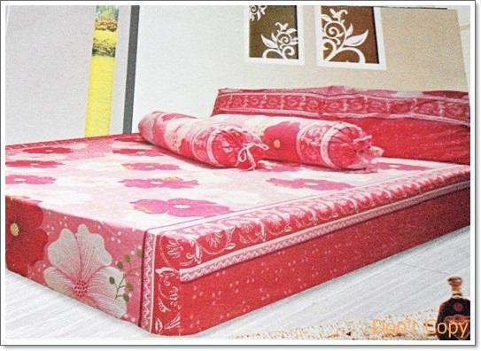 ผ้าปูเตียง 6 ฟุต 5 ชิ้น สีแดง ลายดอกไม้