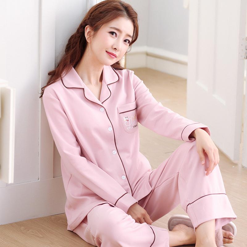 ชุดนอนผ้าฝ้ายสไตล์เรียบง่าย เสื้อเชิ้ตติดกระดุมแขนยาว+กางเกงขายาว เอวยืด (M,L,XL,2XL,3XL) ON-6979