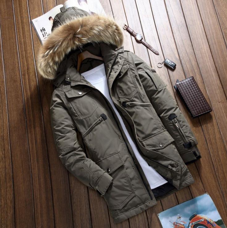 พร้อมส่ง เสื้อโค้ทขนเป็ดผู้ชาย สีเขียว มีฮูด แต่งขนเฟอร์ หนา อุ่น ใส่ลุยหิมะ ใส่กันหนาว เสื้อโค้ทแฟชั่นผู้ชาย