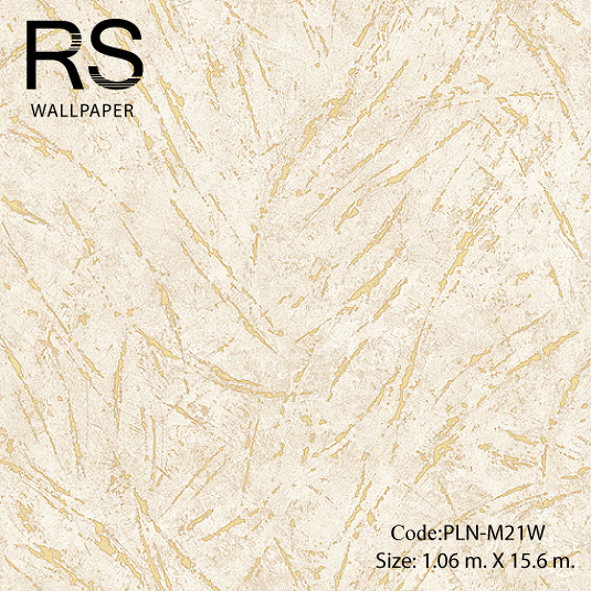 วอลเปเปอร์ลายปูนเปลือยลักษณะผิวหยาบร่องสีทองพื้นสีขาวแกมน้ำตาล PLN-M21W