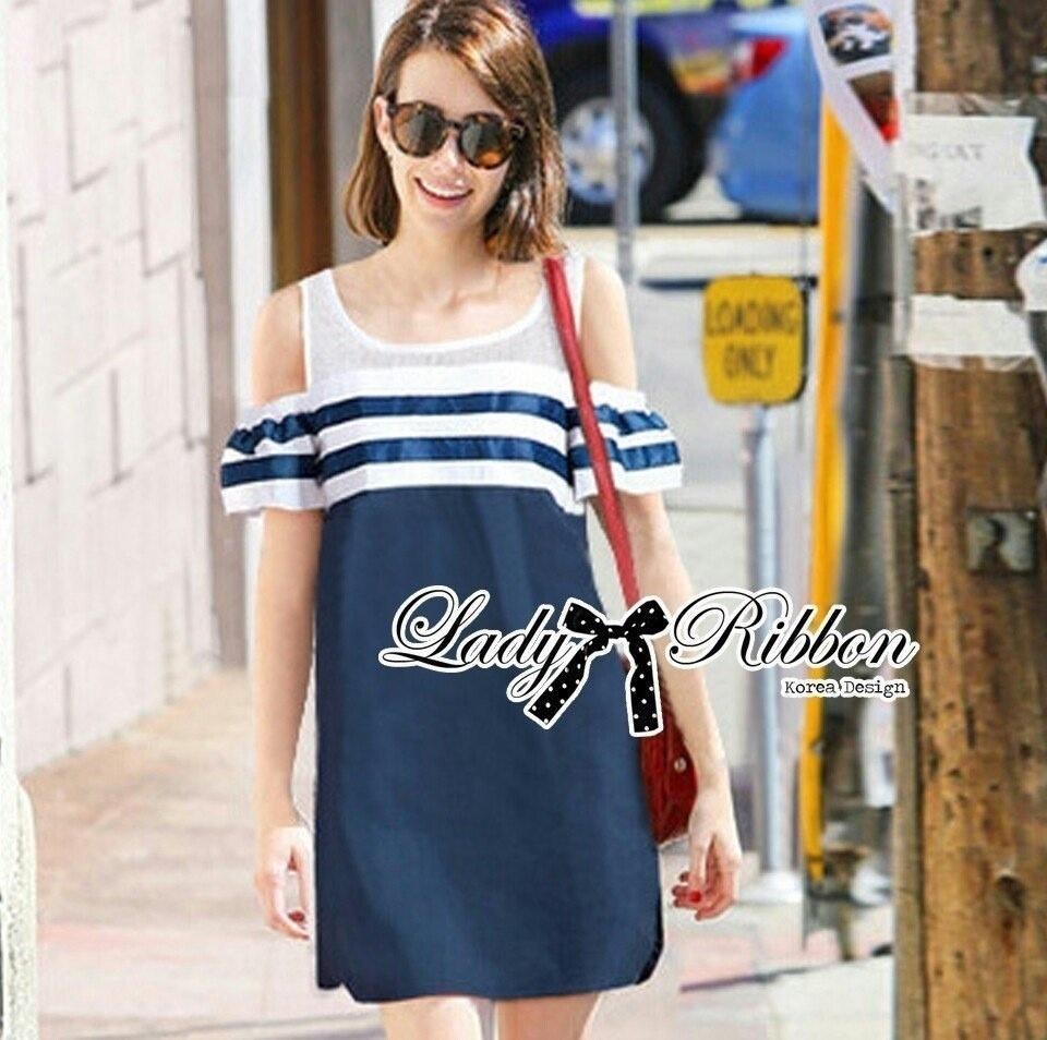 Lady Ribbon's Made Lady Isla Glam Chic Navy Blue Striped Dress