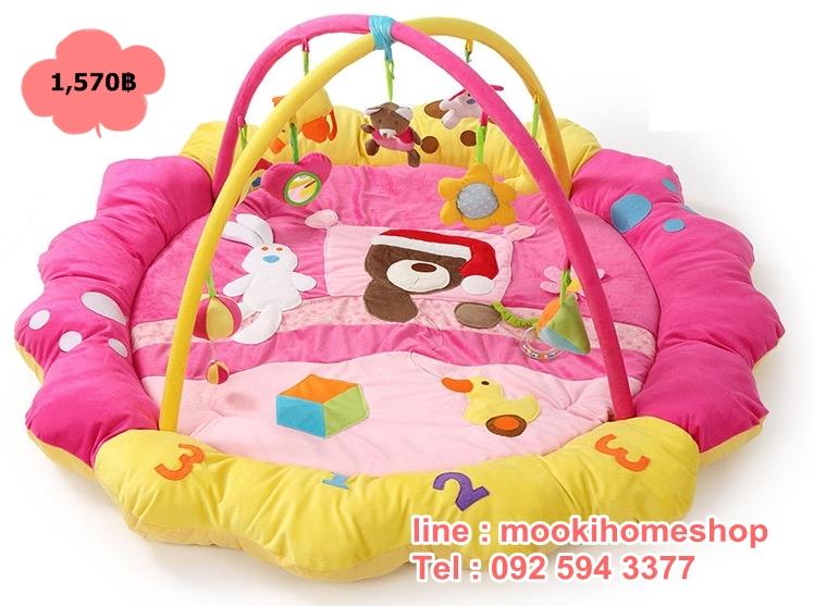 PG1670Pink เพลยิมลายลูกหมีง่วงนอนสีชมพู