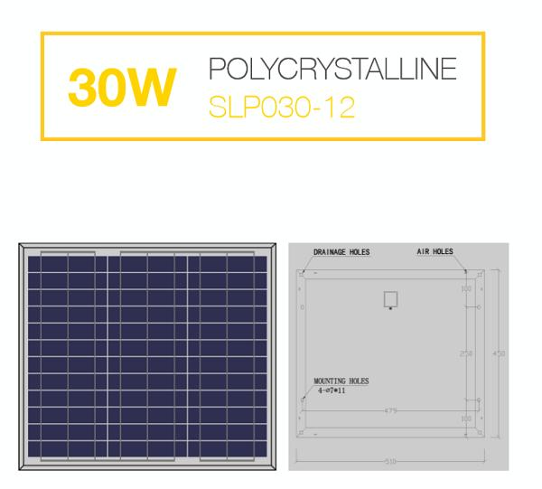 แผงโซล่าเซลล์ Solar Cell 30W Poly