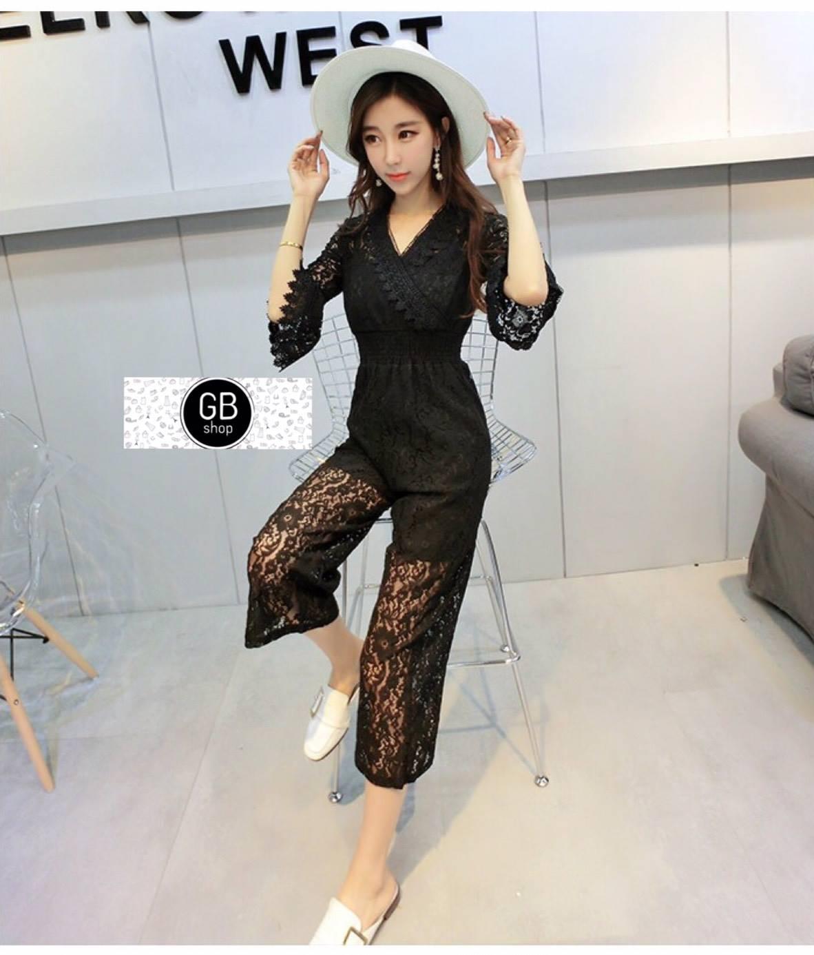 เสื้อผ้าเกาหลีพร้อมส่ง จั๊มพ์สูทกางเกงขายาว คอ V