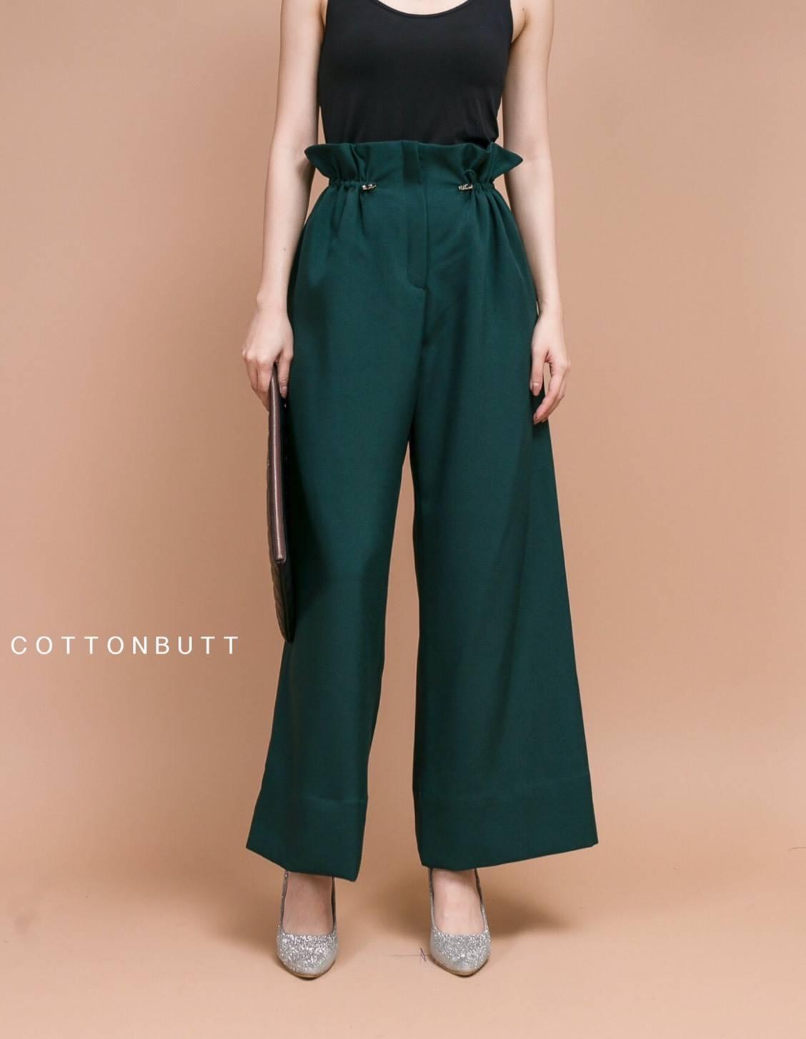 เสื้อผ้าแฟชั่นเกาหลีพร้อมส่ง กางเกงขาบานเอวรูด ปรับตามไซส์ได้