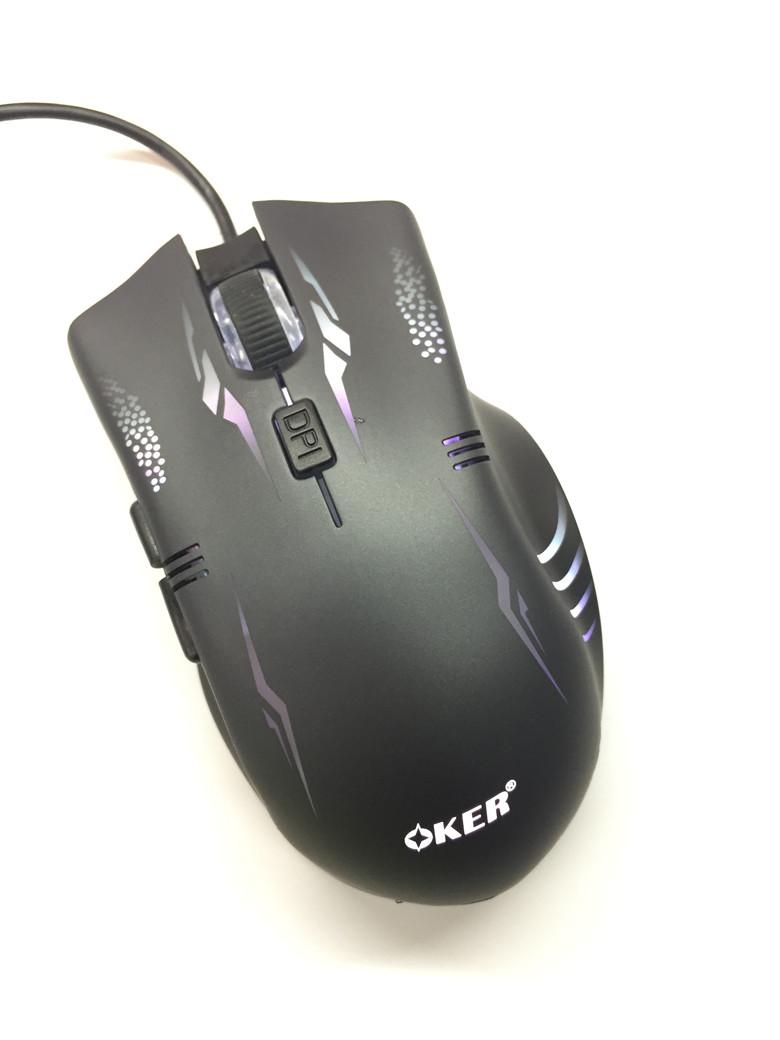 oker mouse gaming usb optical G220 มีไฟเปลี่ยนสี -Silver