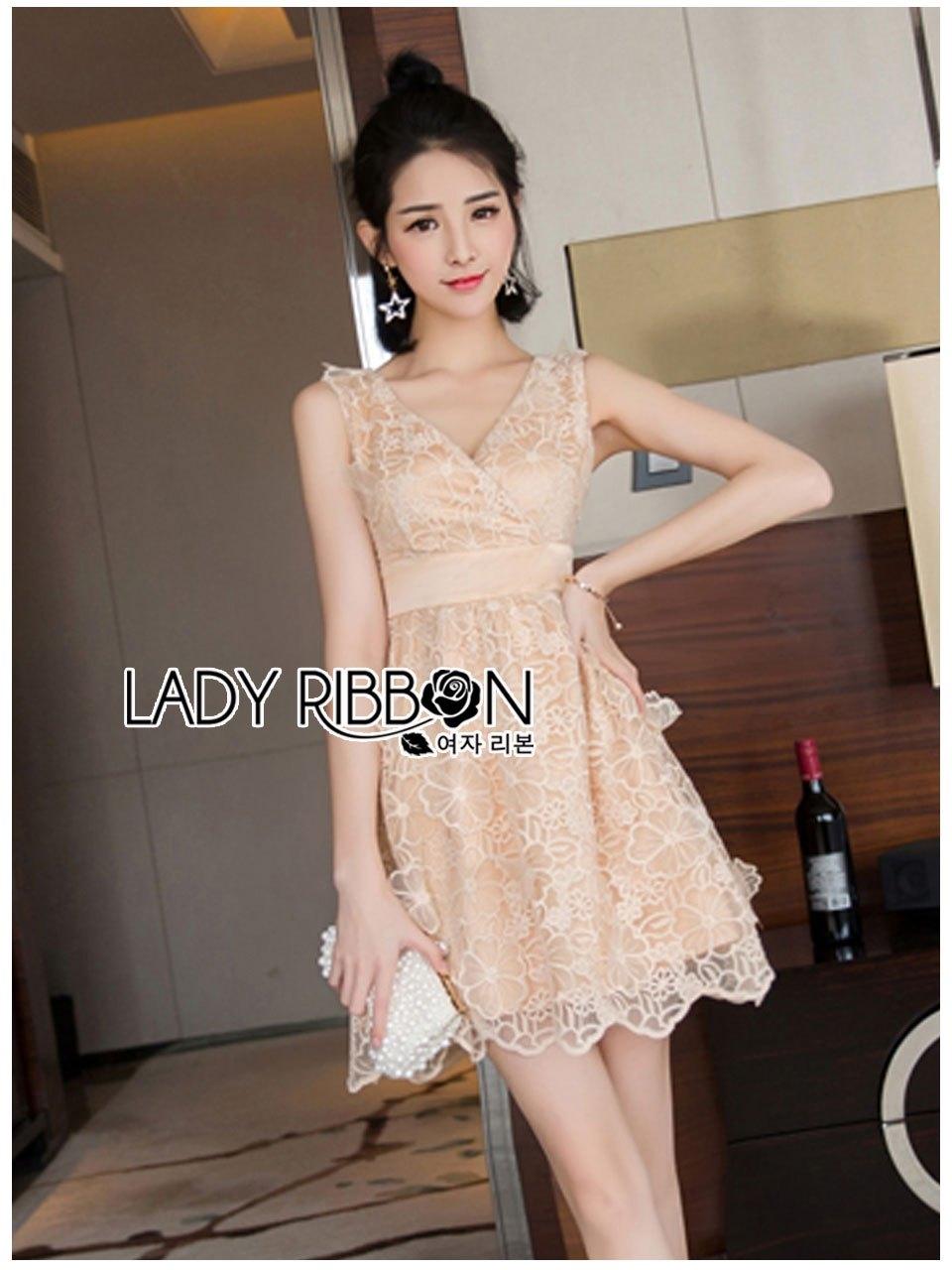เสื้อผ้าเกาหลีพร้อมส่ง ค็อกเทลเดรสผ้าออร์แกนซ่าปักลายดอกไม้แบบ3D