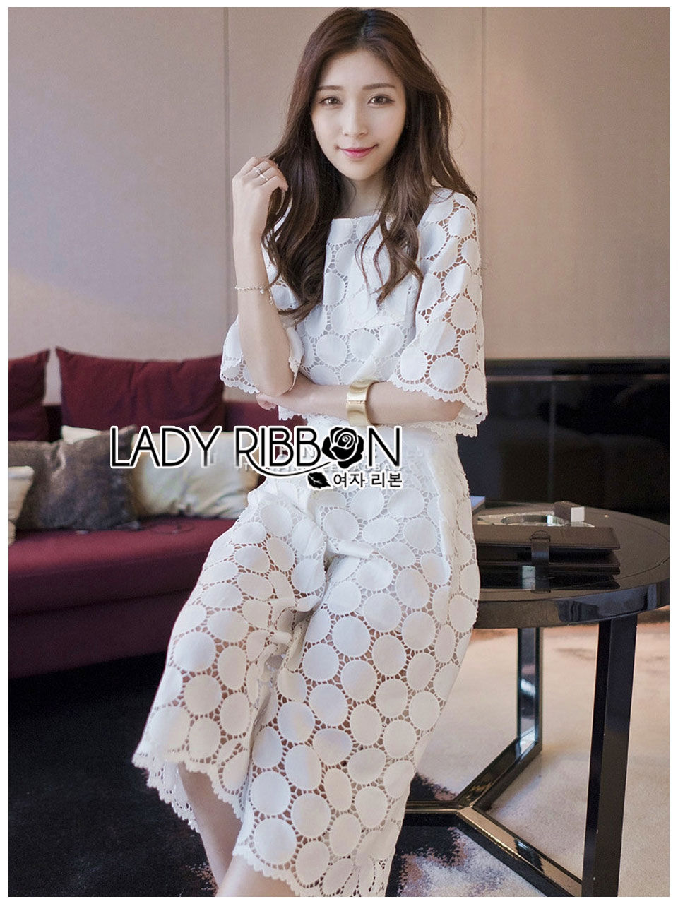 Ariana Round n' Round Cotton Embroidered Top and Pants Set