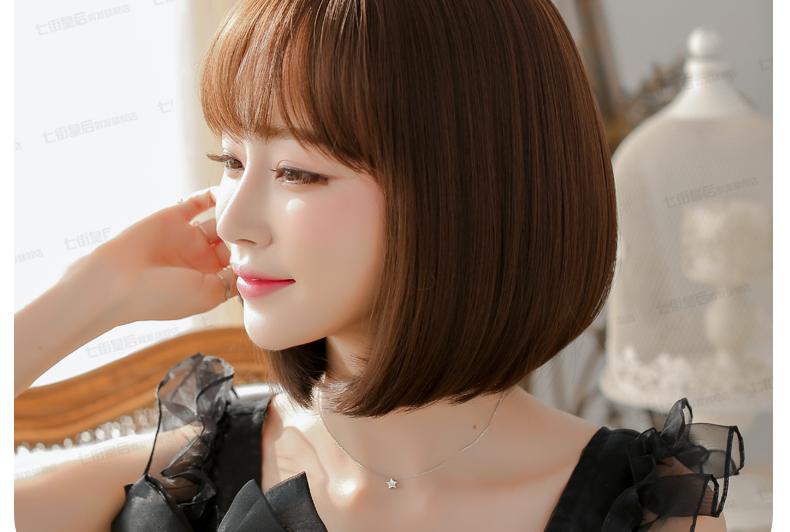 วิกผมสั้นเกาหลี สุดน่ารัก สไตล์เกาหลี สดใส (สีน้ำตาลเข้ม )