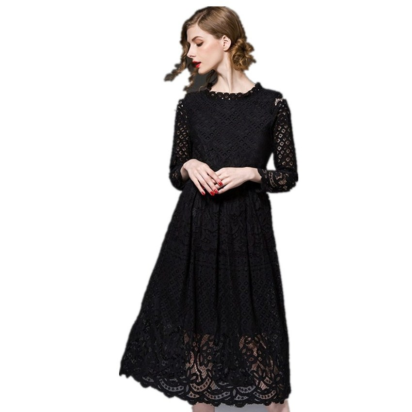Europe and the United States Sexy Long-sleeved Hollow Out of BudSilk Womens Dresses Online (Black)