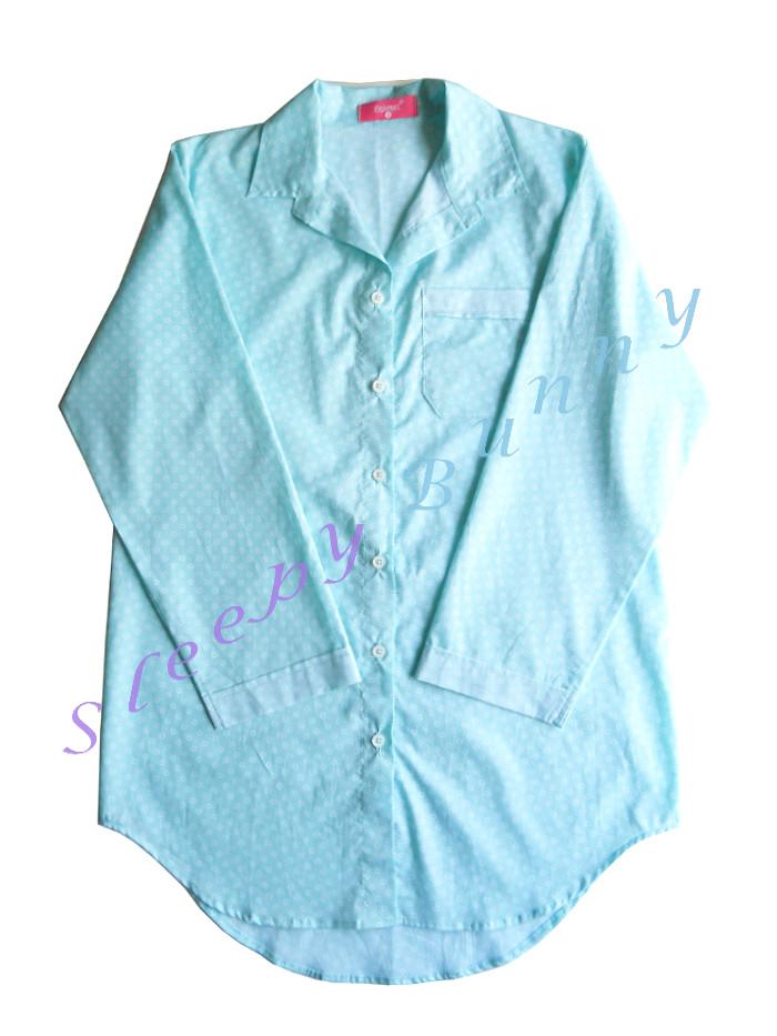 ขายแล้วค่ะ ds41 ชุดนอนเดรสเชิ้ตสีเขียวมิ้นท์ลายดอกเล็ก ๆ Size S, M --> Pajamazz