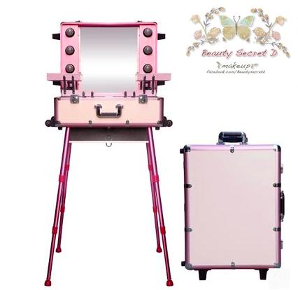 กระเป๋ารถเข็นโต๊ะเครื่องแป้ง กล่องเก็บเครื่องสำอาง Professional major beauty case boxes stand - Pink