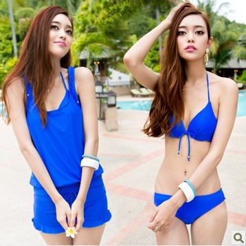 SM-V1-371 ชุดว่ายน้ำเซ็ต 4 ชิ้น สีน้ำเงินสวย บรา+บิกินี่ เสื้อคลุม+กางเกงขาสั้น