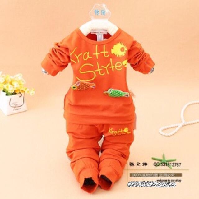 ชุด Set เสื้อแขนยาว+กางเกงขายาว สีส้ม ไซส์ 80,90,100,110