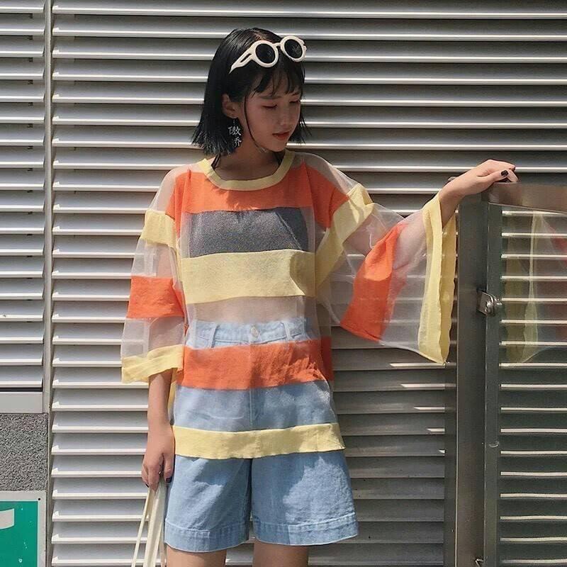 เสื้อผ้าฝ้ายใยสังเคราะห์ เล่นสีสลับสีผ้า