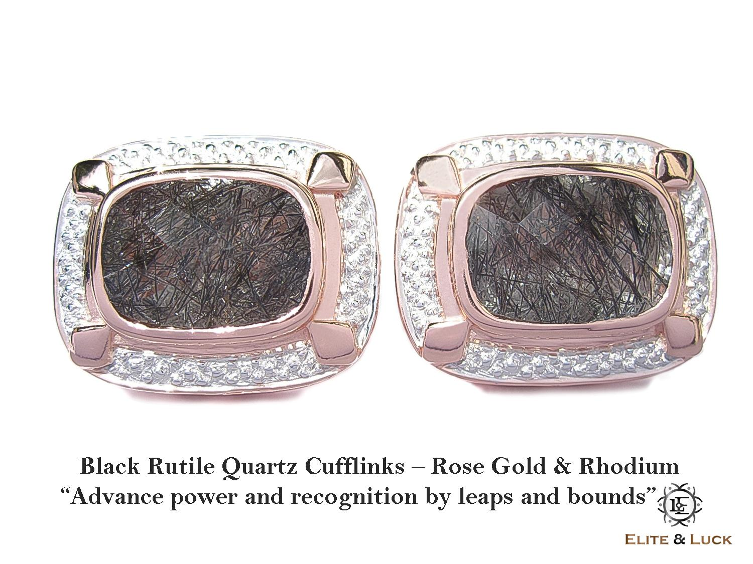 Black Rutile Quartz Sterling Silver Cufflinks สี Rose Gold & Rhodium รุ่น Luxury