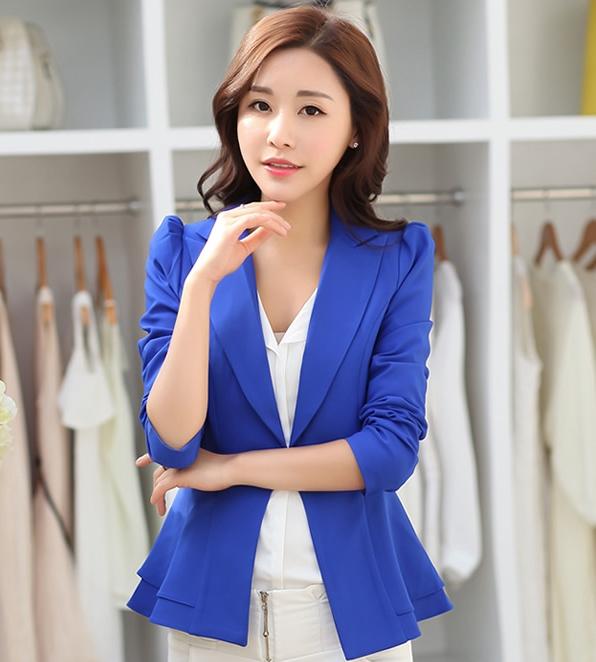 เสื้อสูททำงานผู้หญิงสีน้ำเงิน ชายเสื้อแต่งระบายสองชั้น ติดกระดุม แขนยาว ราคาถูก