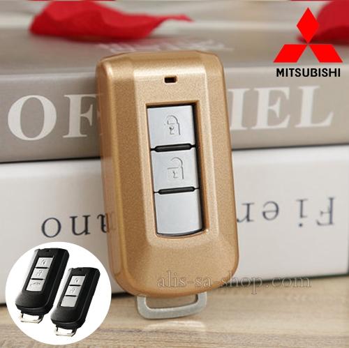 กรอบ-เคส ใส่กุญแจรีโมทรถยนต์ Mitsubishi Mirage,Attrage,Triton,Pajero ABS Smart Key 2,3 ปุ่ม สีทอง