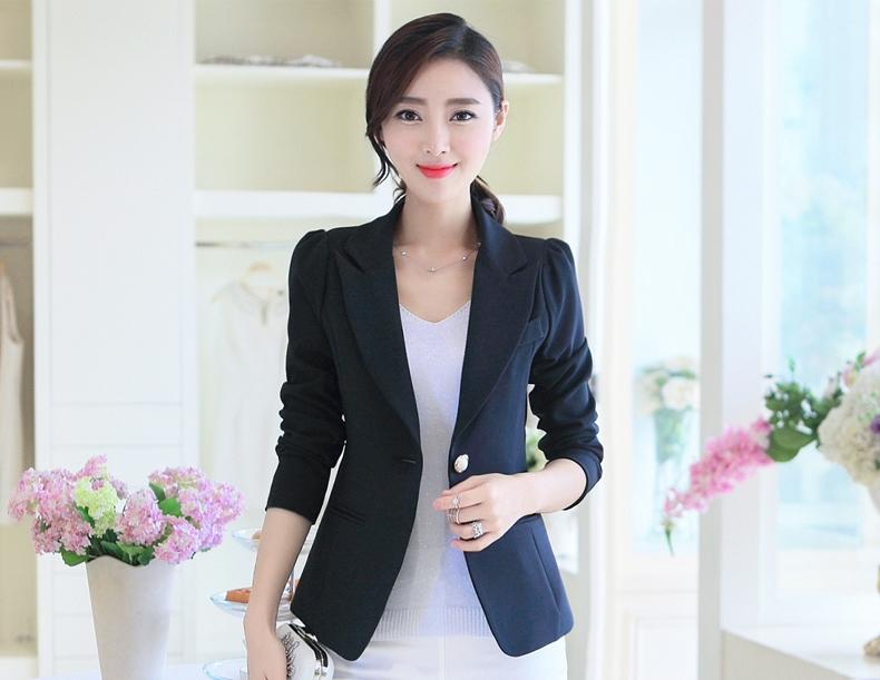 เสื้อสูททำงานผู้หญิงสีดำ แขนยาว ติดกระดุมมุกสุดหรู ทรงสวย ลุคเรียบๆ สวย ดูดี เรียบร้อย