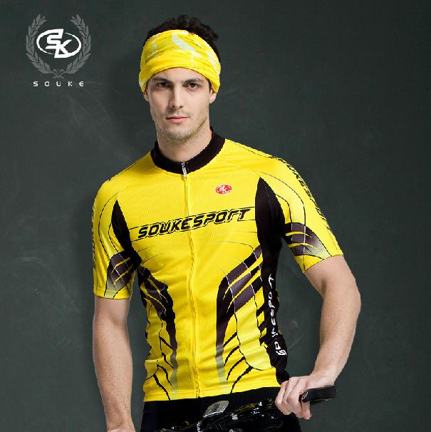 เสื้อปั่นจักรยานแขนสั้น SOUKE สีเหลือง: CPS3110