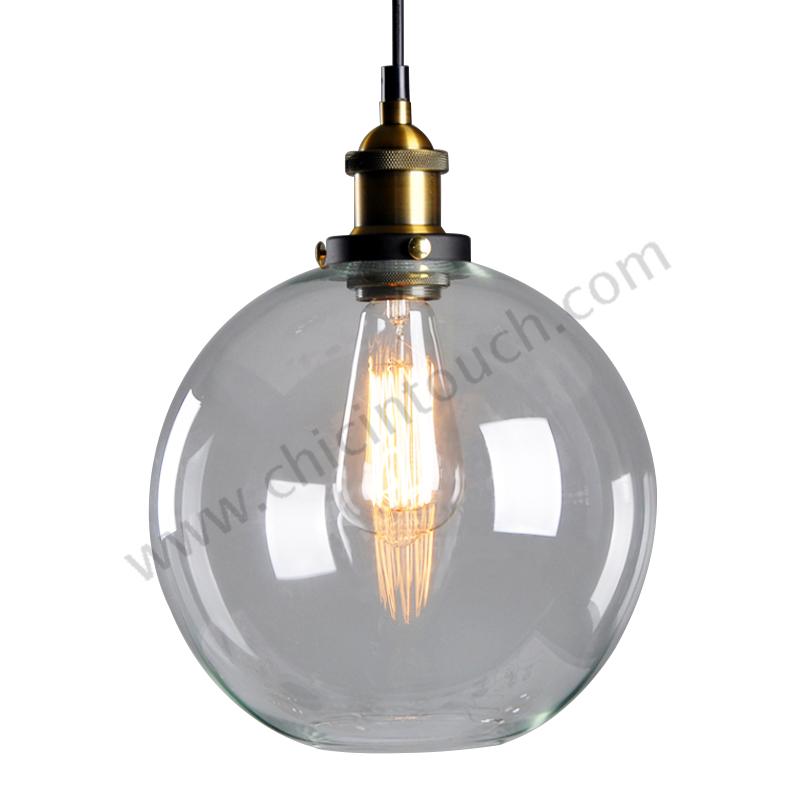 โคมไฟห้อยเพดานLoft Style รุ่น Ball Glass (C27) (แก้วใส)