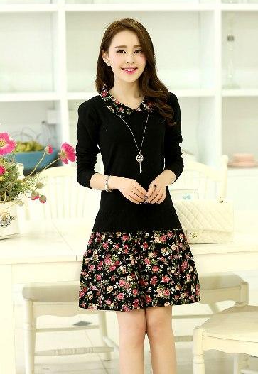 [พรีออเดอร์] ชุดเดรสผู้หญิงแฟชั่นเกาหลีใหม่สีดำ แขนยาว คอเสื้อลายดอกไม้ กระโปรงลายดอกไม้ แบบเก๋ เท่ห์ - [Preorder] New Korean Fashion Slim Floral Collar Short-sleeved Dress with Floral Skirt