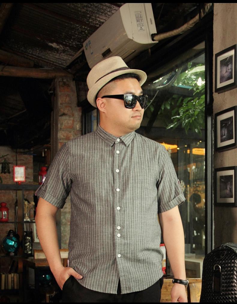 พรีออเดอร์ เสื้อเชิ้ตทำงาน ไซต์ M - 3XL แฟชั่นเกาหลีสำหรับผู้ชายไซต์ใหญ่ แขนสั้น เก๋ เท่ห์ - Preorder Large Size Men Size M - 3XL Korean Hitz Short-sleeved Shirt