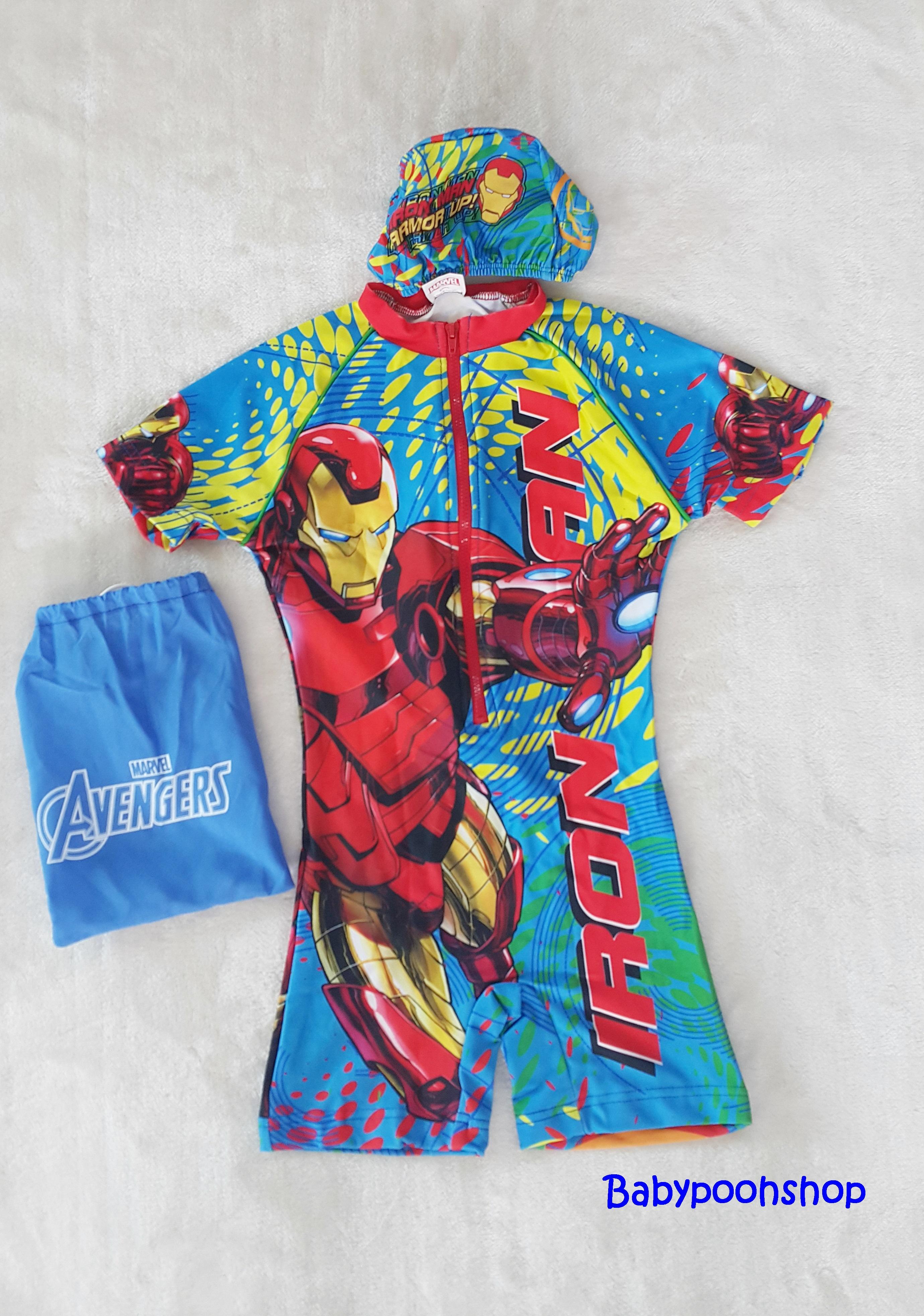 ชุดว่ายน้ำบอดี้สูทลาย Ironman สีฟ้า ซิปหน้า พร้อมหมวกและ ถุงผ้า Size : XS (3-4y) / M (5-6y) / L (6-7y) / XL (7-8y)