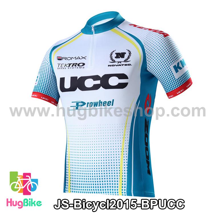 เสื้อจักรยานแขนสั้นทีม Bicycl 2015 สีฟ้าลายน้ำเงิน UCC สั่งจอง (Pre-order)