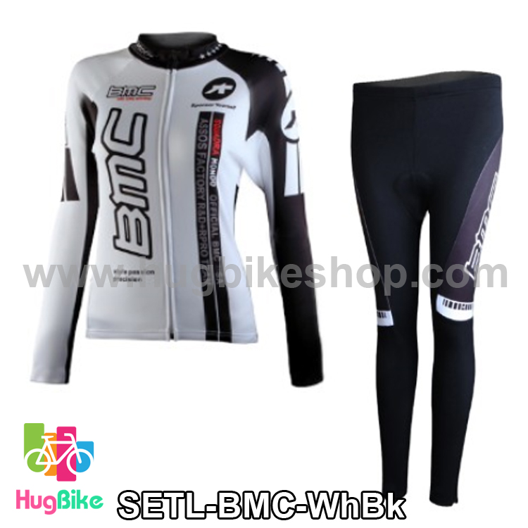 ชุดจักรยานแขนยาวทีม BMC สีขาวดำ