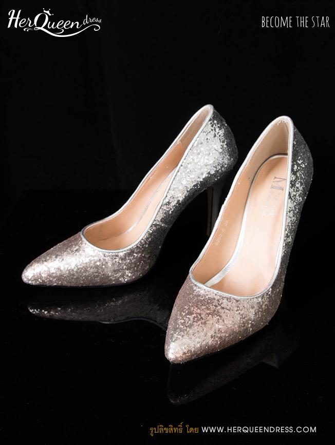 &#x2665 รองเท้าส้นสูง 4 นิ้ว เกล็ดเงินไล่โทนสีชมพู
