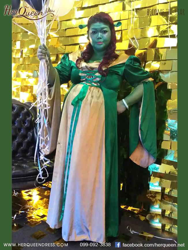 &#x2665 ชุดแฟนซี ชุดเจ้าหญิงฟีโอน่า Fiona จากเรื่องเชร็ค Shrek (ไซส์ใหญ่เอว 40+)