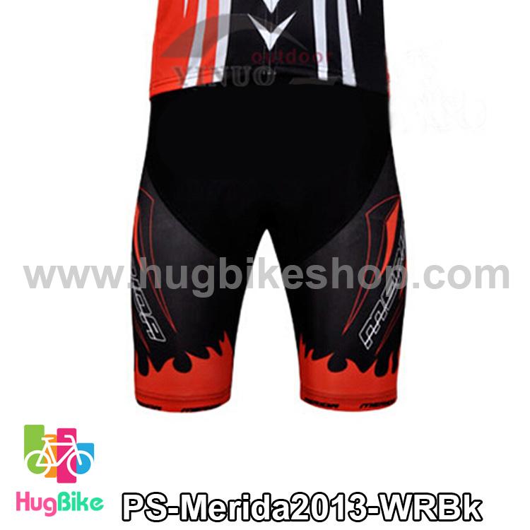 กางเกงจักรยานขาสั้นทีม Merida 13 สีขาวแดงดำ สั่งจอง (Pre-order)
