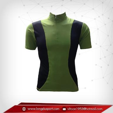 เสื้อจักรยานแขนสั้น สีเขียวมะกอก - ดำ