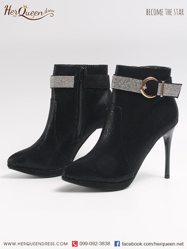 เช่ารองเท้า &#x2665 รองเท้าส้นสูง ทรงบู๊ทหัวแหลม สูง 4.5 นิ้ว หนังกลับแต่งเข็มขัดเพชร