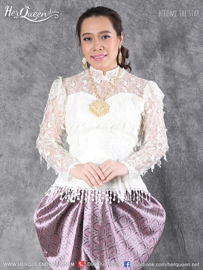 เช่าชุดไทย &#x2665 ชุดไทย ร.5 เสื้อลูกไม้ฝรั่งเศสลายนก สีขาว พร้อมโจงกระเบนโทนหวาน