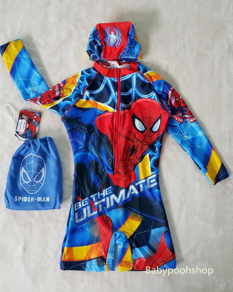 ชุดว่ายน้ำ บอดี้สูท แขนยาว ลาย spiderman พร้อมถุง และหมวก งานลิขสิทธิ์ size : XL (7-8y)