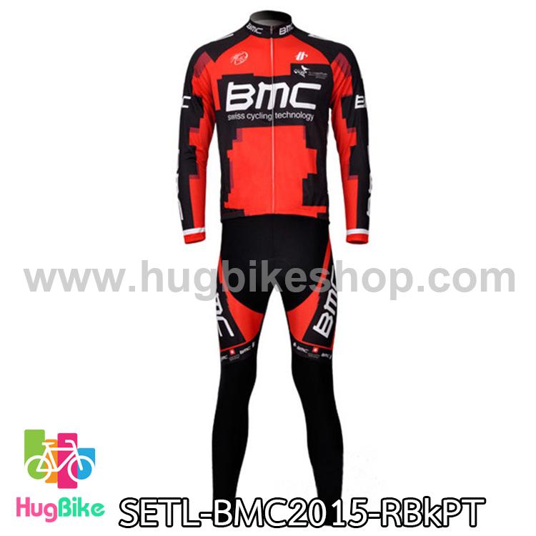 ชุดจักรยานแขนยาวทีม BMC 15 สีแดงดำลาย สั่งจอง (Pre-order)