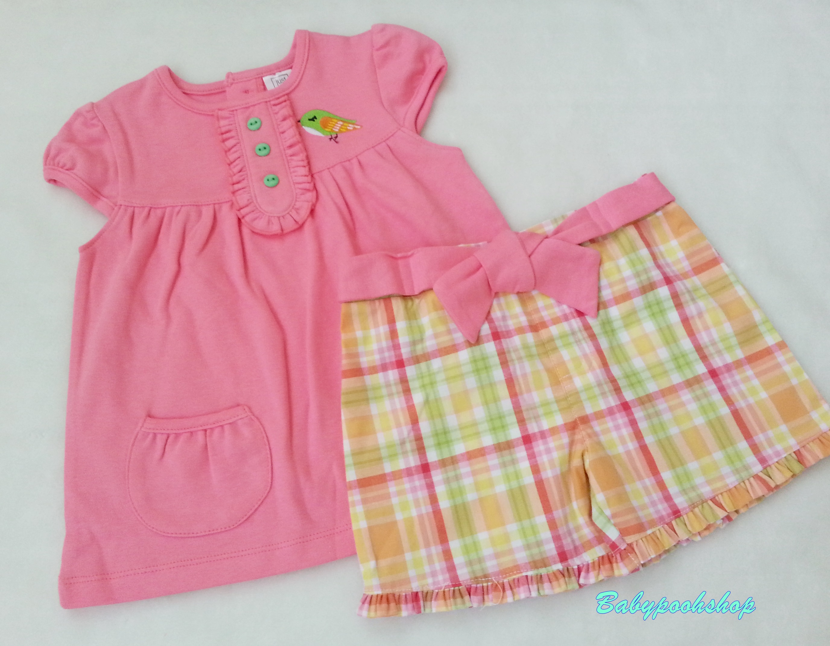 Just one you : เสื้อสีชมพูปักนก มาพร้อม กางเกงขาสั้นลายสก็อต สีเขียว เหลือง size 3T / 4T