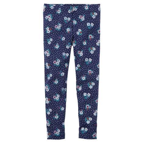 Carter's : เลกกิ้ง สีน้ำเงิน ลายดอกไม้เล็ก (งานขีดป้าย) size 4T