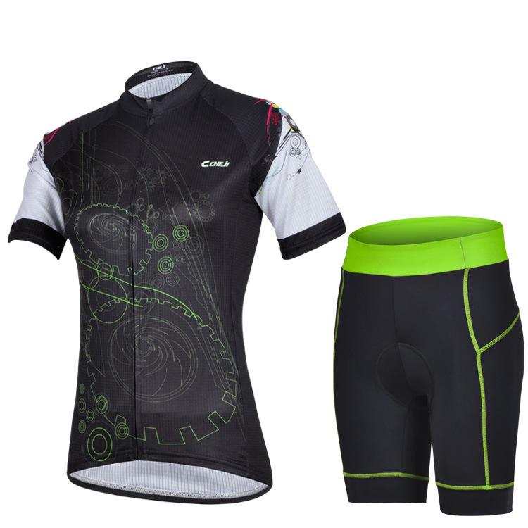 ชุดจักรยานผู้หญิงแขนสั้นขาสั้น CheJi 14 (10) สีดำเขียว สั่งจอง (Pre-order)