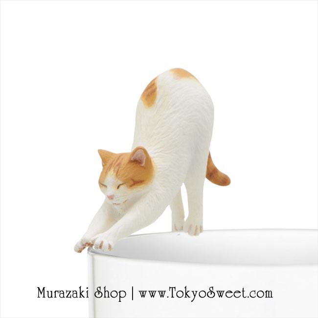พร้อมส่ง ** Neko เกาะแก้วรูปน้องแมวเหมียวสุดน่ารัก สีน้ำตาล-ขาว (ทานไม่ได้)