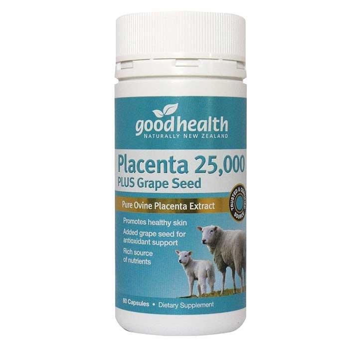 รกแกะ Good Health Sheep Placenta 25,000 mg. plus Grape Seed 1 ขวด 60 เม็ด จากนิวซีแลนด์