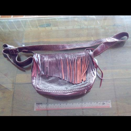กระเป๋าสะพานข้างอินเดียนสไตล์หนังแท้ (Handmade)