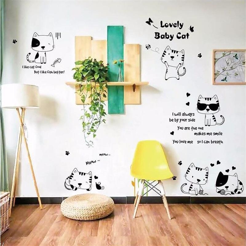 """สติ๊กเกอร์ติดผนังตกแต่งบ้าน """"Cute Lovely baby cat แมว ขาวดำ"""" ความสูง 100 cm ความยาว 170 cm"""