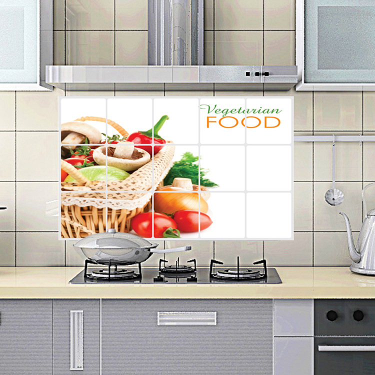 "Aluminium Sticker สติ๊กเกอร์กันน้ำมันกระเด็น ""Vegetarian Food"" ขนาด 45cm x 75cm"